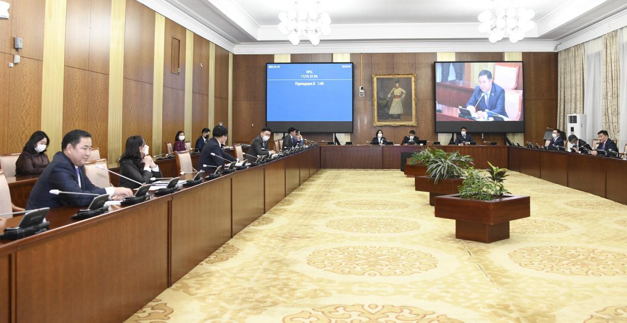 """""""Монгол Улсын Их Хурлын 2021 оны хаврын ээлжит чуулганаар хэлэлцэх асуудлын тухай"""" тогтоолын төслийг батлахыг дэмжлээ"""